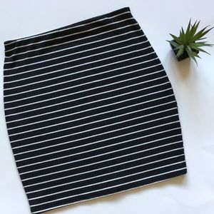 Missguided Black and White Stripped Skirt-SZ 8